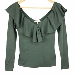Eri + Ali Green Deep V Neck Ruffled Shirt